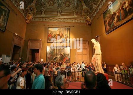 Venus de Milo Louvre museum Paris France Europe Indoor Inside ancient Greek statue sculpture art culture ol - Stock Photo
