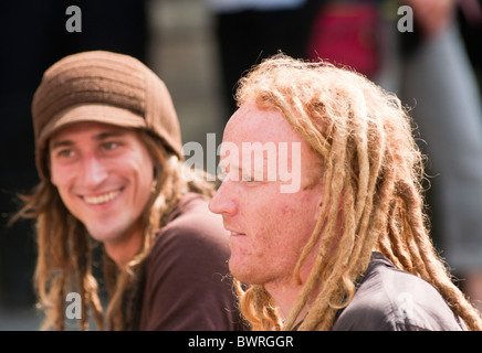 Two Caucasian men with dreadlocks seen in Bath, England - Stock Photo