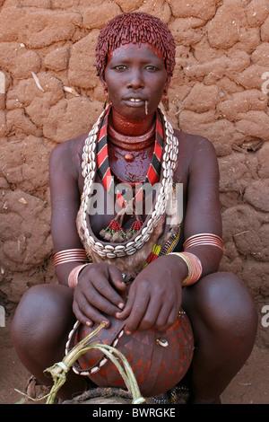 Hamer Tribe Woman, Turmi, Omo Valley, Ethiopia - Stock Photo
