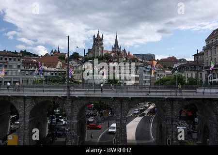 Switzerland Europe Lausanne Outdoor Outdoors Outside canton Vaud town Cathedral city Grand Pont bridge via - Stock Photo