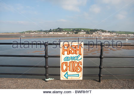 Fish and chips sign, Appledore, North Devon, UK - Stock Photo