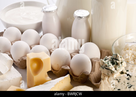 Protein products: cheese, cream, milk, eggs. On a white background. - Stock Photo
