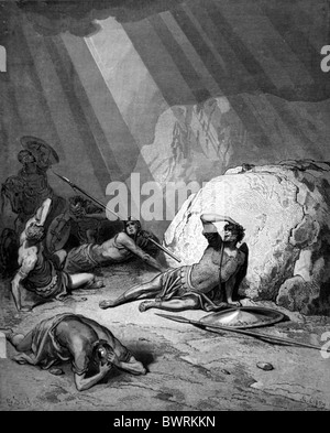 Gustave Doré; The Conversion of Saul on the Road to Damascus; Black and White Engraving - Stock Photo