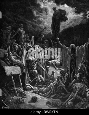 Gustave Doré; The Vision of the Valley of Dry Bones (Ezekiel Chap 37); Black and White Engraving - Stock Photo