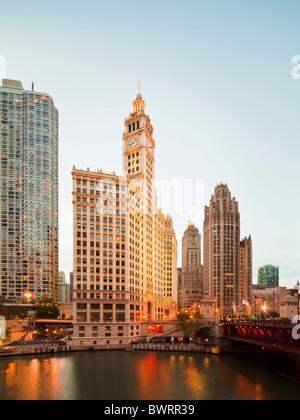 Wrigley Building, Tribune Tower, Chicago river, Illinois - Stock Photo