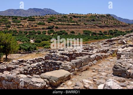 Gournia, Minoan archaeological site, Crete, Greece, Europe - Stock Photo