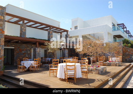 The Outdoor Terrace Of Restaurant At Modern Luxury Hotel