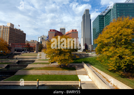 A fall view of downtown Omaha, Nebraska. - Stock Photo