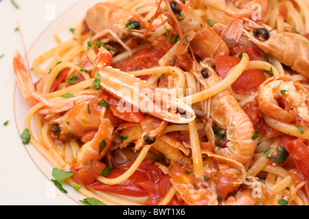 Seafood marinara in a restaurant - Stock Photo