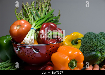 Fresh vegetables in colander - Stock Photo