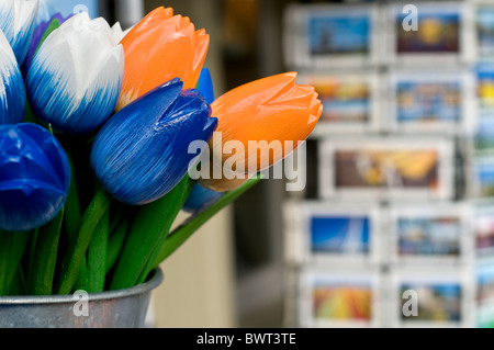 Postcards and souvenirs on sale outside a shop in Delft in the Netherlands - Stock Photo