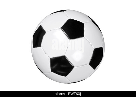 Photo of white and black leather football or soccer ball isolated on white background with clipping path done with pen tool. Stock Photo