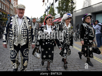 Traditional Pearly Kings and Queens London UK Europe - Stock Photo