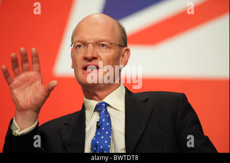 Minister of State for Universities and Science David Willets addresses delegates on the second day of the Conservatives - Stock Photo