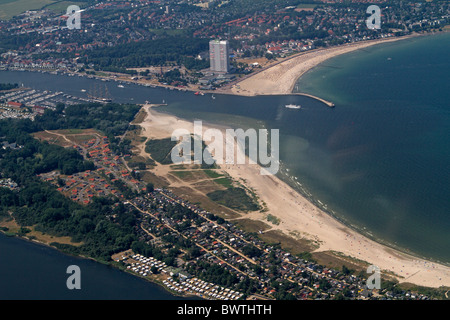 Aerial photograph of the coastline of Travemuende, Baltic Sea, Schleswig-Hostein, Germany - Stock Photo