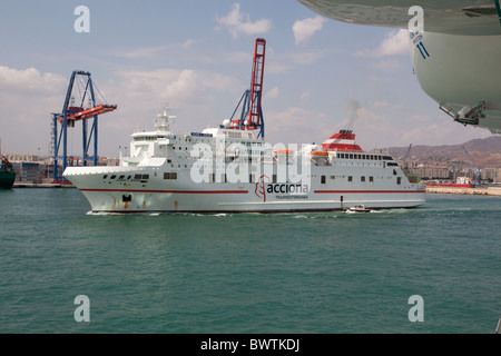 Passenger ferry departing Malaga - Stock Photo