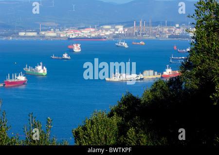 Gibraltar: Gibraltar with bay of Algeciras, Spain background.U.K - Stock Photo