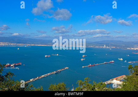 Gibraltar: Gibraltar town foreground with bay of Algeciras, Spain background.U.K - Stock Photo