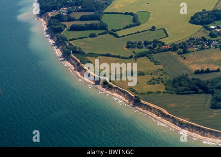 Aerial photograph of steep coast Brodtener Ufer, Baltic Sea, Schleswig-Hostein, Germany - Stock Photo