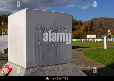 Srebrenica, Bosnia and Herzegovina.  Potocari Genocide Memorial and Muslim cemetery. - Stock Photo