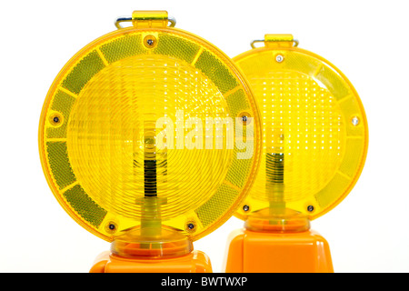 Yellow warning lamp - Stock Photo