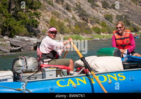 USA, Idaho, Rafting the Middle Fork of the Salmon River. Frank Church Wilderness. - Stock Photo