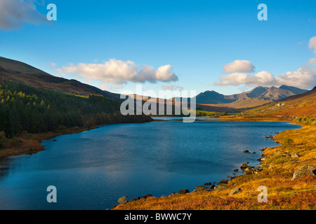 The Snowdon Massif with Llynnau Mymbyr in the foreground. Snowdonia National Park, North Wales - Stock Photo