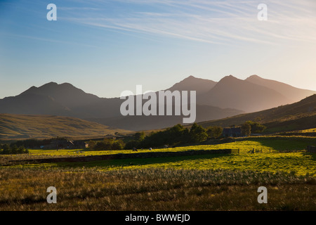 Snowdon massif photographed in the late evening sun from Dyffryn Mymbyr, Snowdonia, North Wales - Stock Photo