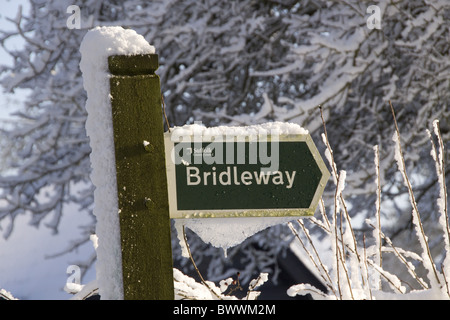 bridleway sign walks suffolk winter snow cold trees fresh branch branches tree white blue countryside track chill - Stock Photo