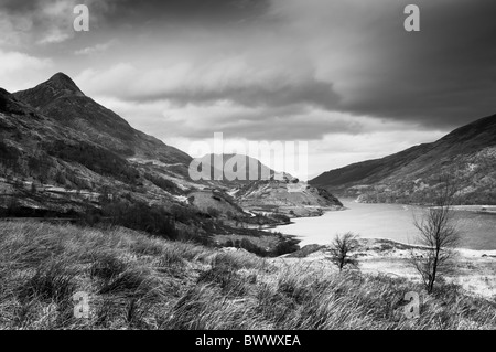 View along Loch Leven towards Pap of Glencoe - Stock Photo