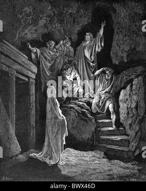 Gustave Doré; The Raising of Lazarus; Black and White Engraving - Stock Photo