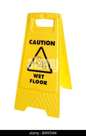 Yellow Caution wet floor sign - Stock Photo