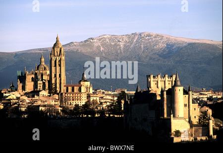 Spain Europe Segovia overview evening mood Sierra de Guadarrama mountains - Stock Photo