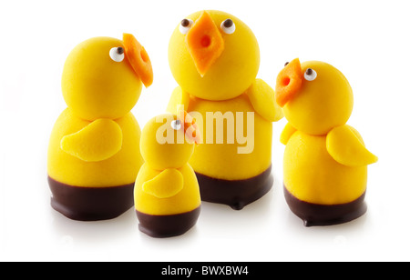 Marzipan Chicks for Easter or spring - Stock Photo