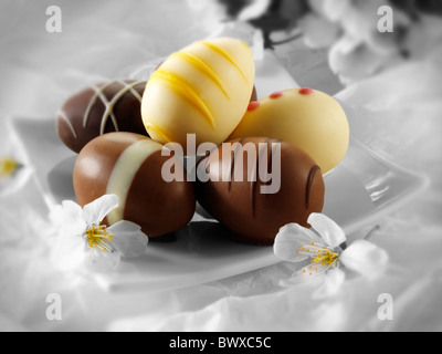 Traditional chocolate decorated Easter Eggs - Stock Photo