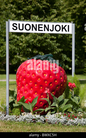 Strawberry symbol and sign of city of Suonenjoki , where strawberry cultivation is a major source of incom , Finland - Stock Photo
