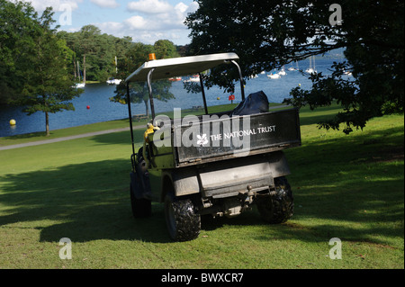 Golf type buggy used by The National Trust for light duties on estates and property. - Stock Photo