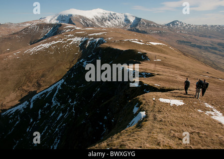 The Snowdon massif in spring from Moel Eilio - Stock Photo