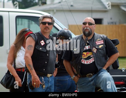 2 members of the biker gang Hells Angels - Stock Photo
