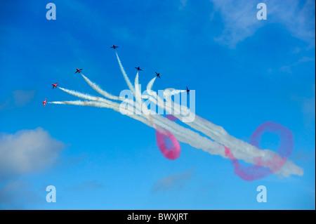 The RAF Red Arrows Break - Stock Photo