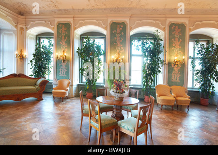 Ksiaz castle - interior - Green Hall, Sudeten mountains, Silesia, Poland - Stock Photo