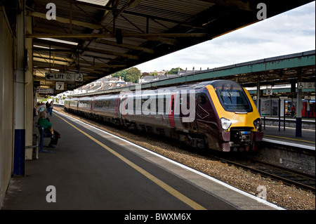 Class 221, Super Voyager operated by Cross Country Railways, at Plymouth, UK - Stock Photo