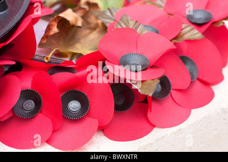 Rememberance Sunday Poppy wreath detail - Stock Photo