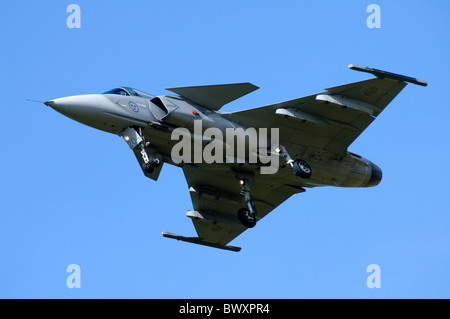 Saab JAS-39C Gripen jet fighter on approach for landing at RAF Fairford - Stock Photo