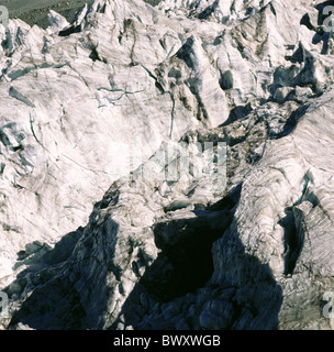 scenery Switzerland Europe Valais detail ice Feegletscher glacier Langflue Saas Fee - Stock Photo