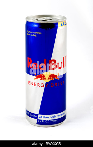 Can of Red Bull Energy Drink, USA - Stock Photo