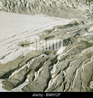 detail ice cliff chin glacier glacier Saas Fee Valais Switzerland Europe - Stock Photo
