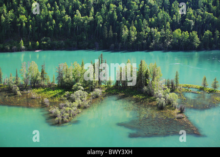 Blue Kanas Lake, Kanas Conservation, Xinjiang Uyghur Autonomous Region, China - Stock Photo
