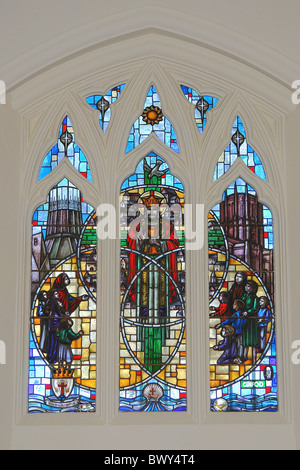 Jubilee Window at Our Lady of the Annunciation Roman Catholic Church, Bishop Eton, Liverpool, Merseyside, England, - Stock Photo