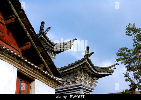 Architectural details of Mu Residence, Lijiang, Yunnan Province, China - Stock Photo
